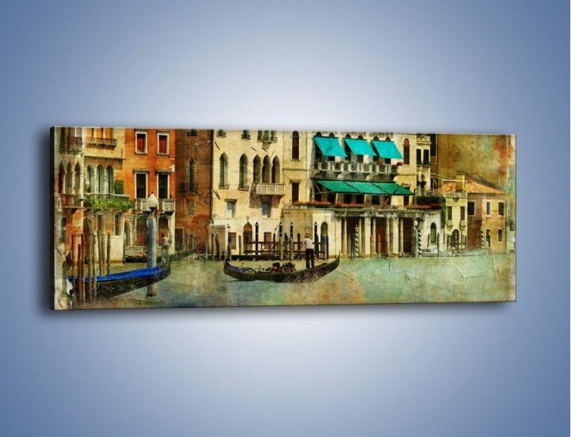 Obraz na płótnie – Weneckie domy w stylu vintage – jednoczęściowy panoramiczny AM459