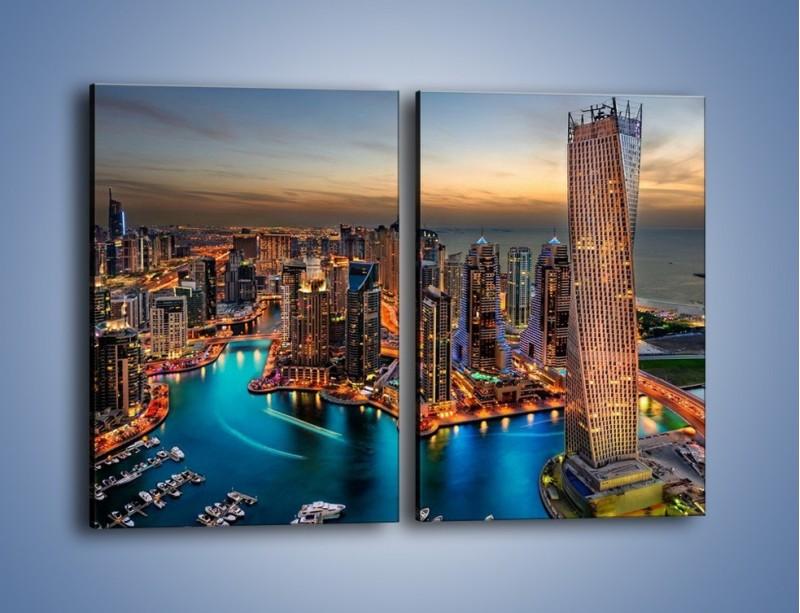 Obraz na płótnie – Centrum Dubaju wieczorową porą – dwuczęściowy prostokątny pionowy AM656