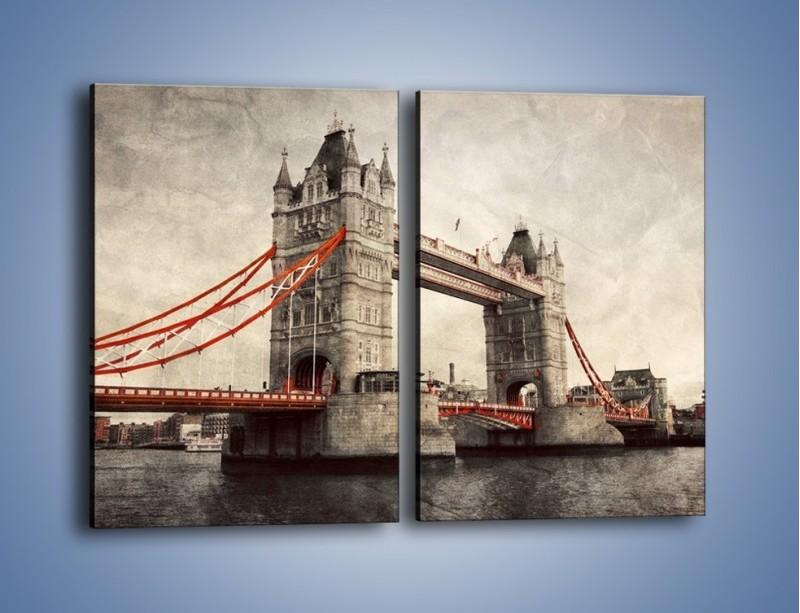 Obraz na płótnie – Tower Bridge w stylu vintage – dwuczęściowy prostokątny pionowy AM668