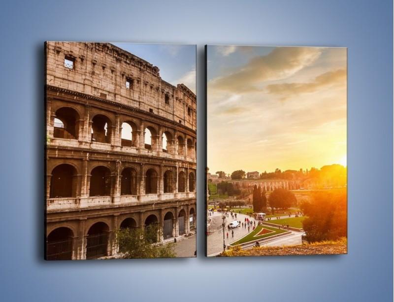 Obraz na płótnie – Rzymskie Koloseum o zachodzie słońca – dwuczęściowy prostokątny pionowy AM684