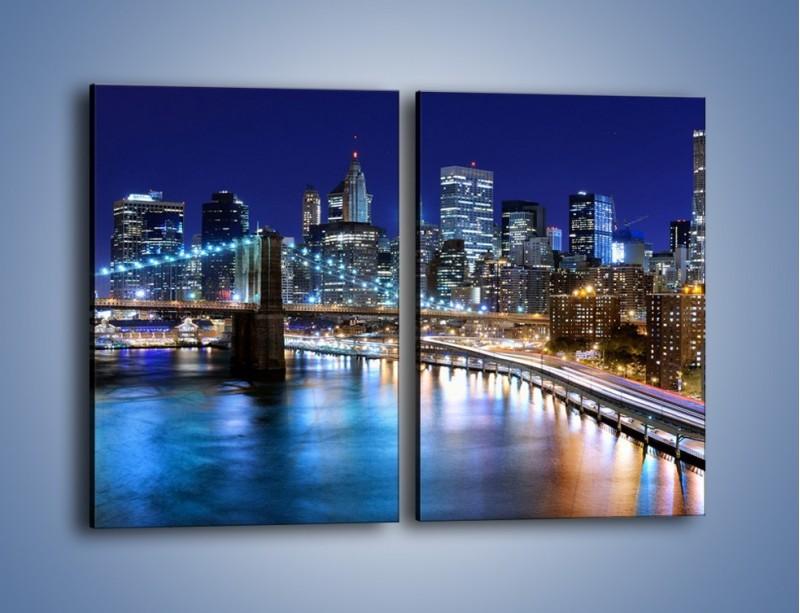 Obraz na płótnie – Nocne światła Nowego Yorku – dwuczęściowy prostokątny pionowy AM726
