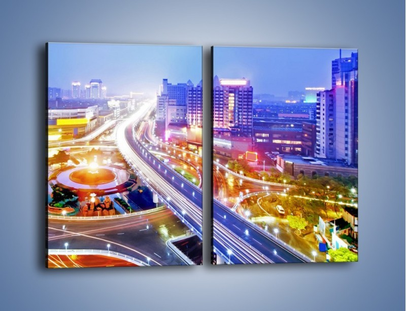 Obraz na płótnie – Rozświetlona miejska estakada – dwuczęściowy prostokątny pionowy AM729