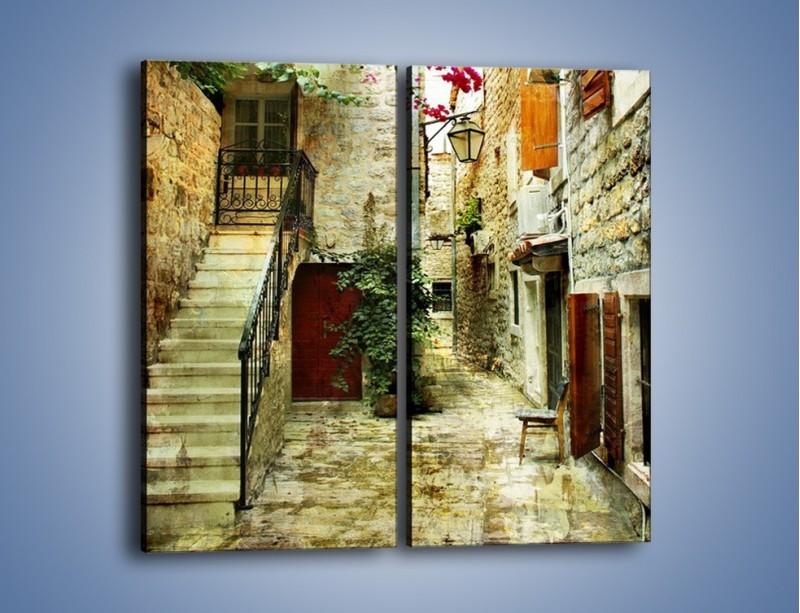 Obraz na płótnie – Dziedziniec w chorwackim miasteczku – dwuczęściowy prostokątny pionowy AM733