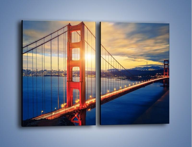 Obraz na płótnie – Zachód słońca nad Mostem Golden Gate – dwuczęściowy prostokątny pionowy AM738