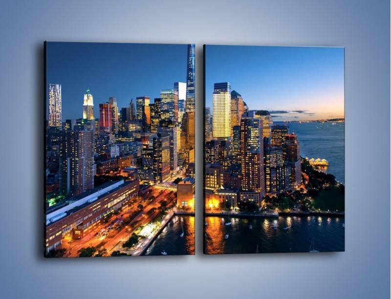 Obraz na płótnie – Zmierzch nad Manhattanem – dwuczęściowy prostokątny pionowy AM749