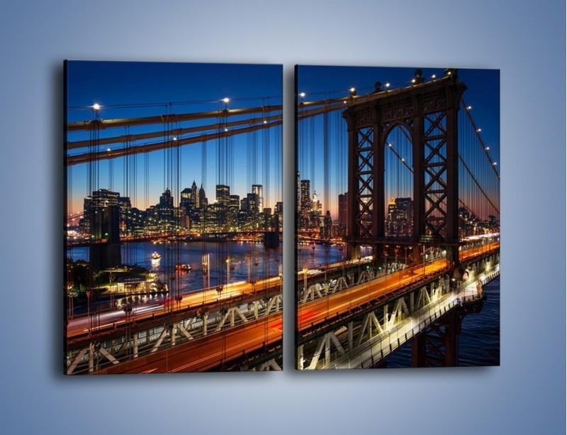 Obraz na płótnie – Nowojorskie mosty na tle Manhattanu – dwuczęściowy prostokątny pionowy AM751
