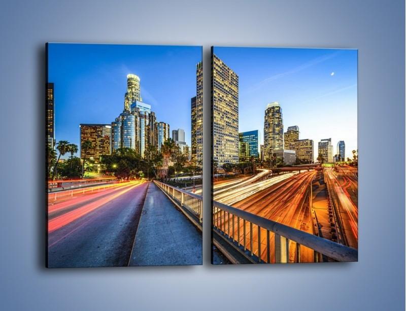 Obraz na płótnie – Światła Los Angeles o zmierzchu – dwuczęściowy prostokątny pionowy AM753