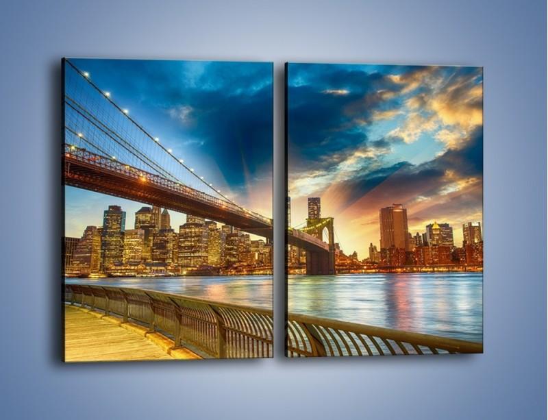 Obraz na płótnie – Most w Nowym Jorku o zmierzchu – dwuczęściowy prostokątny pionowy AM754