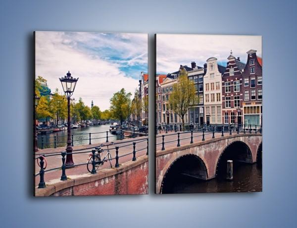 Obraz na płótnie – Kanał i most amsterdamski – dwuczęściowy prostokątny pionowy AM759