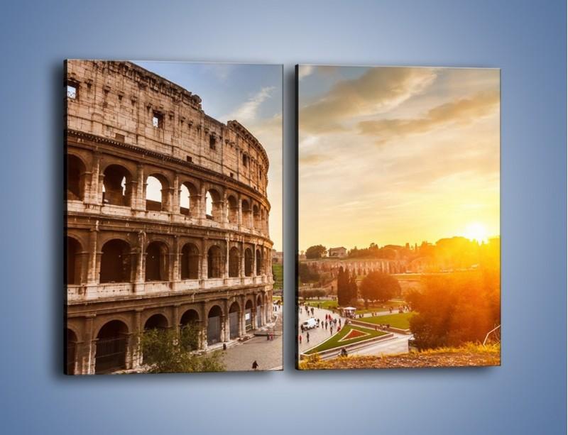 Obraz na płótnie – Zachód słońca nad Rzymem – dwuczęściowy prostokątny pionowy AM763
