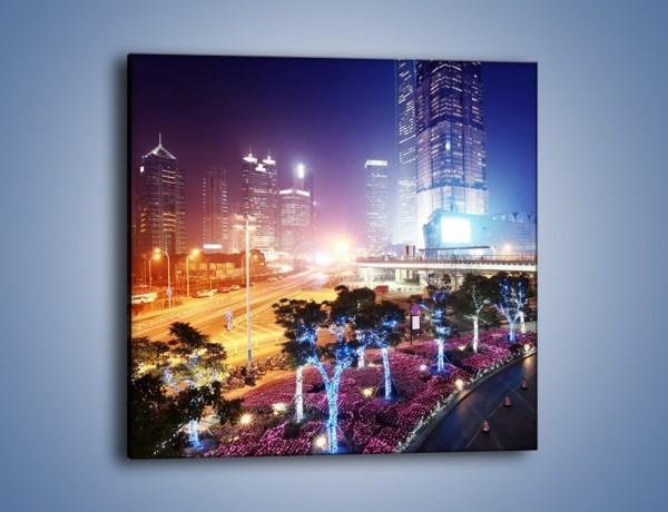Obraz na płótnie – Ulice Szanghaju w nocy – jednoczęściowy kwadratowy AM744