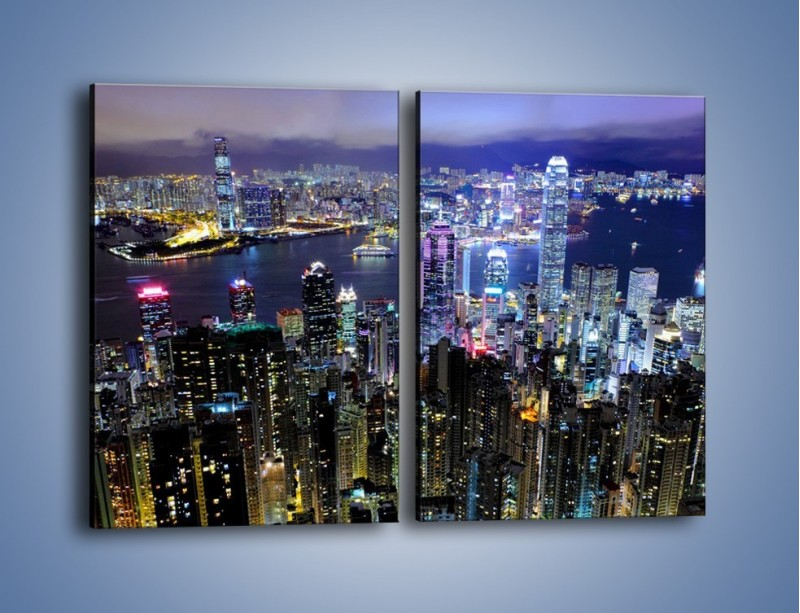Obraz na płótnie – Nocna panorama Hong Kongu – dwuczęściowy prostokątny pionowy AM772