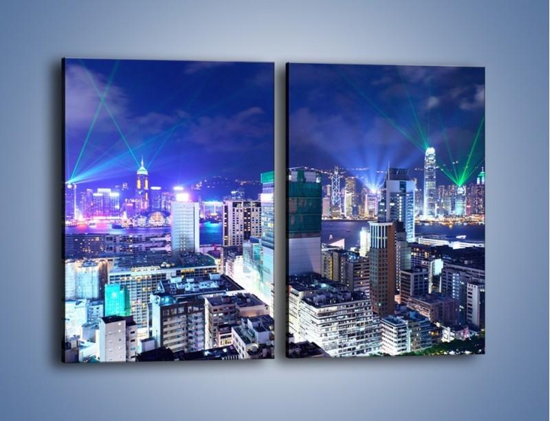 Obraz na płótnie – Pokaz laserów nad Hong Kongiem – dwuczęściowy prostokątny pionowy AM796