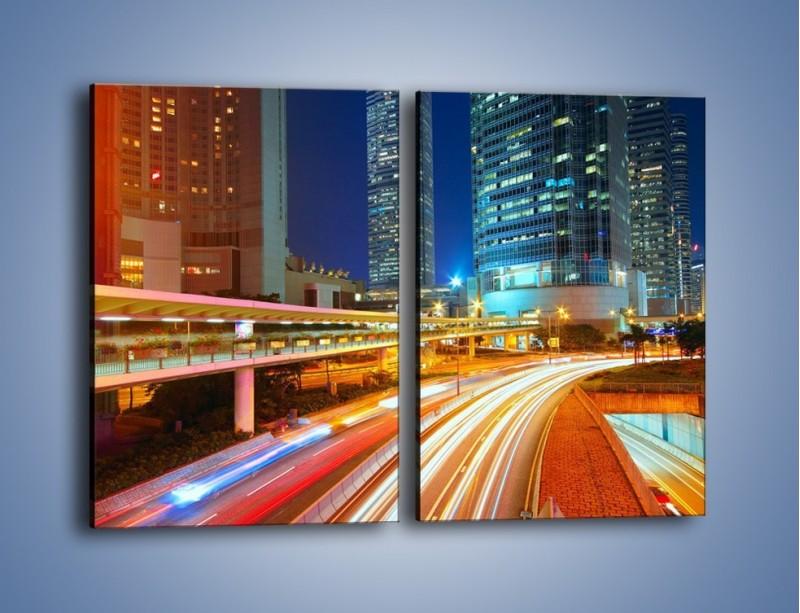Obraz na płótnie – Nocne kolory miasta – dwuczęściowy prostokątny pionowy AM808