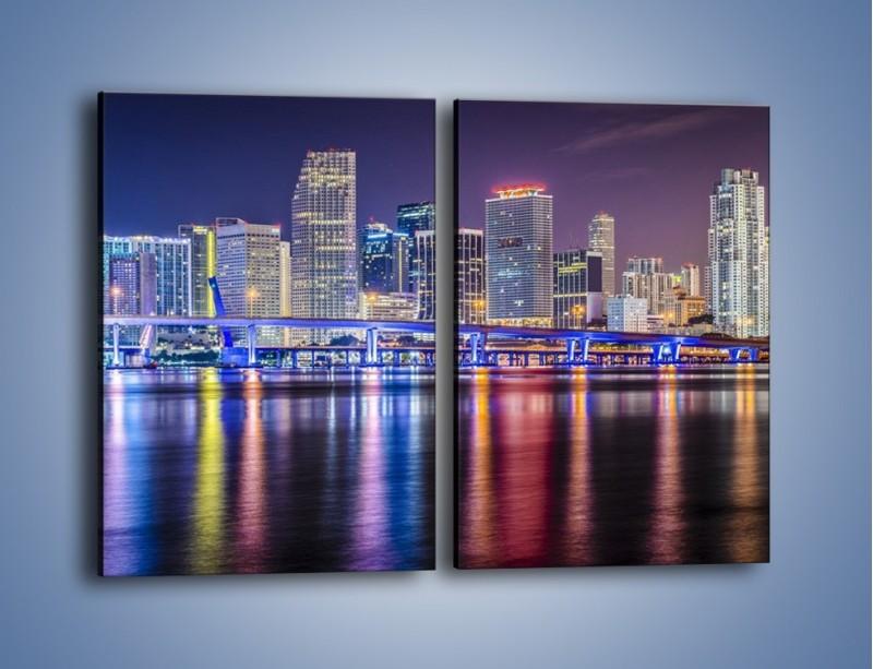 Obraz na płótnie – Światla Miami w odbiciu wód Biscayne Bay – dwuczęściowy prostokątny pionowy AM813