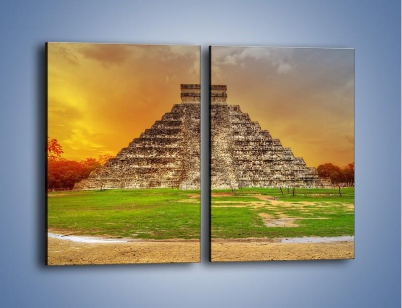 Obraz na płótnie – Piramida Kukulkana w Meksyku – dwuczęściowy prostokątny pionowy AM814
