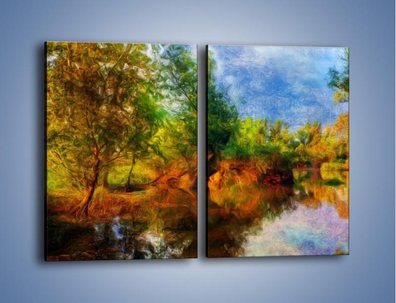 Obraz na płótnie – Drzewa w wodnym lustrze – dwuczęściowy prostokątny pionowy GR010