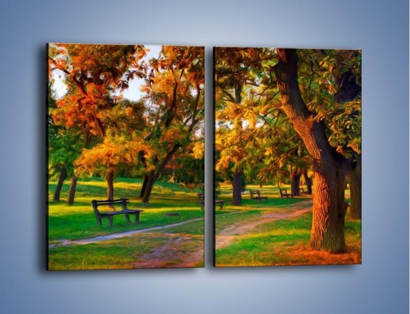 Obraz na płótnie – Ławeczka w parku – dwuczęściowy prostokątny pionowy GR011