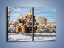 Obraz na płótnie – Cerkiew w trakcie zimy – dwuczęściowy prostokątny pionowy GR024