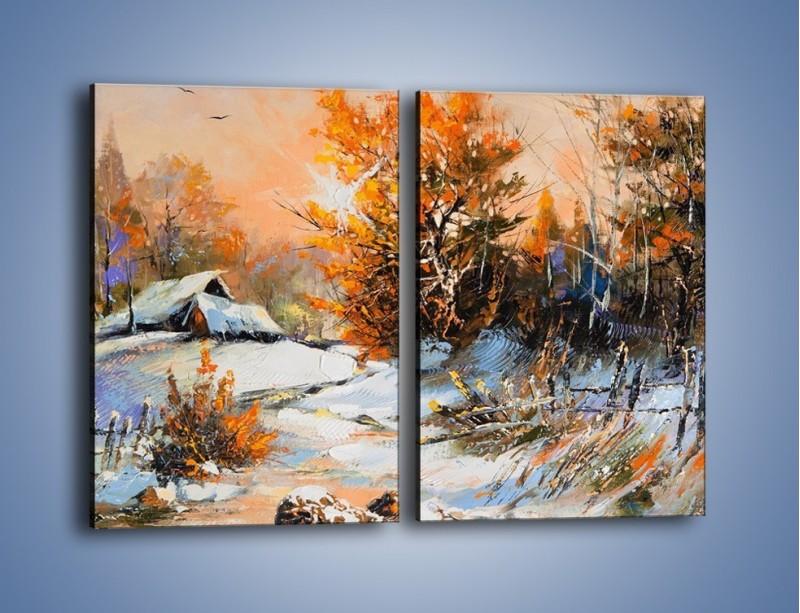 Obraz na płótnie – Zimowy klimat na wsi – dwuczęściowy prostokątny pionowy GR027