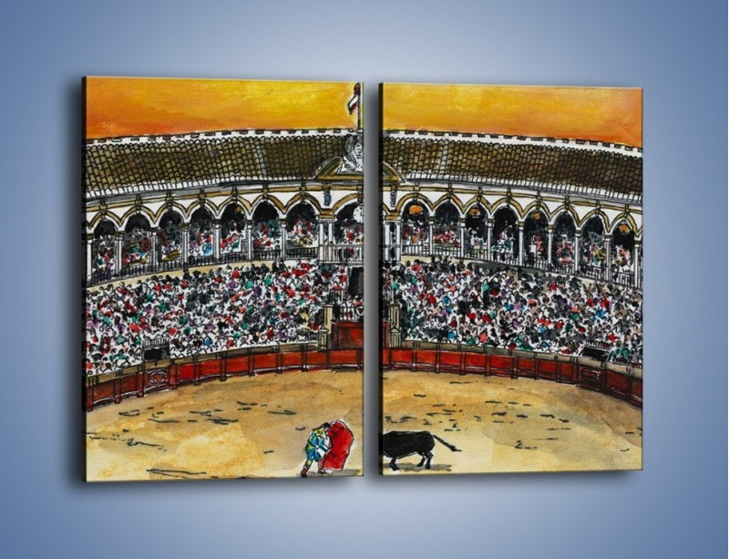 Obraz na płótnie – Walka torreadora z bykiem – dwuczęściowy prostokątny pionowy GR040