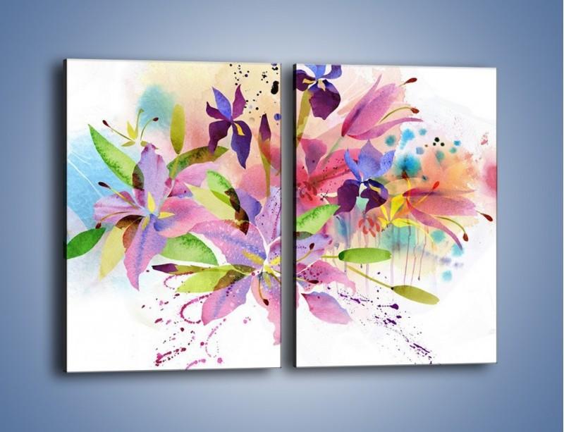 Obraz na płótnie – Kolory zachowane w kwiatach – dwuczęściowy prostokątny pionowy GR043