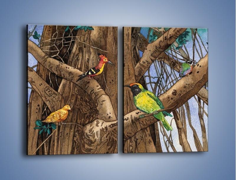 Obraz na płótnie – Mali przyjaciele na drzewie – dwuczęściowy prostokątny pionowy GR050