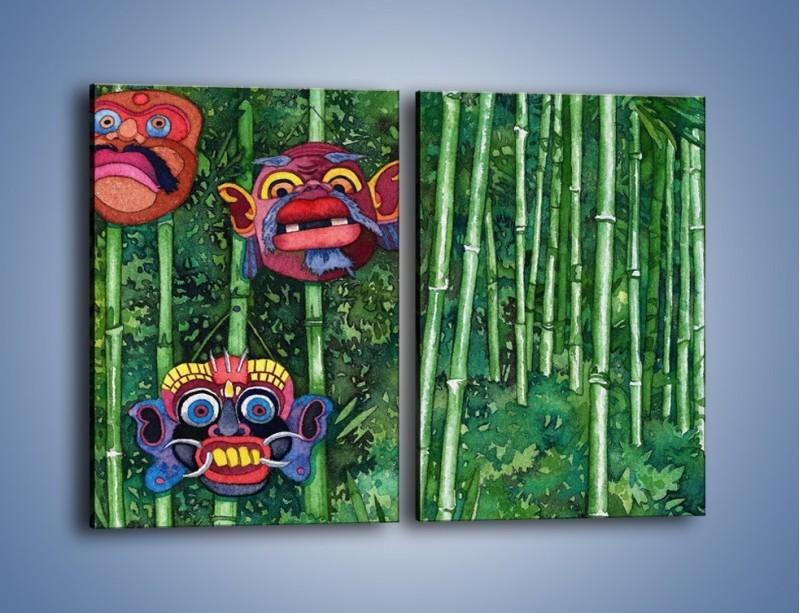 Obraz na płótnie – Maski dzikiego plemienia – dwuczęściowy prostokątny pionowy GR051