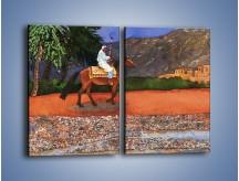 Obraz na płótnie – Arabski szejk na koniu – dwuczęściowy prostokątny pionowy GR052