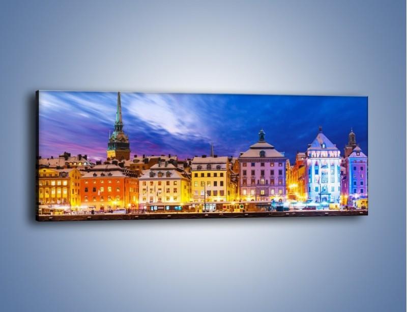 Obraz na płótnie – Sztokholm w zimowej scenerii – jednoczęściowy panoramiczny AM468