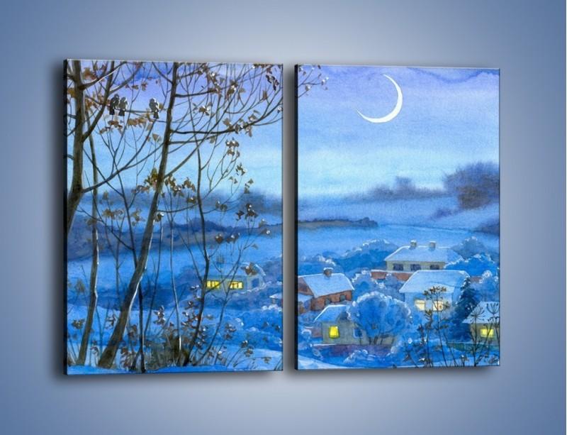 Obraz na płótnie – Domki w świetle księżyca – dwuczęściowy prostokątny pionowy GR097