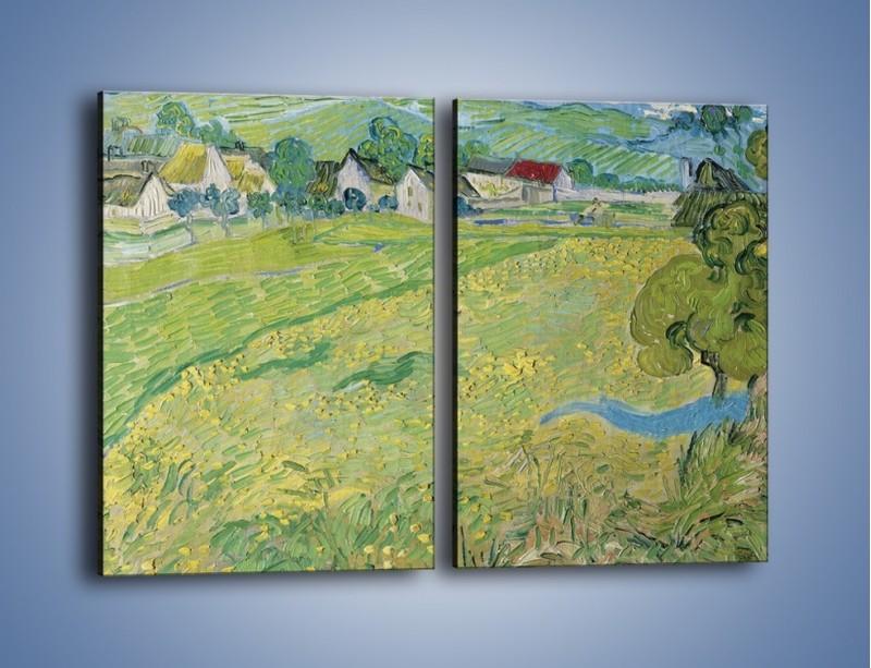 Obraz na płótnie – Łąka i małe domki – dwuczęściowy prostokątny pionowy GR105