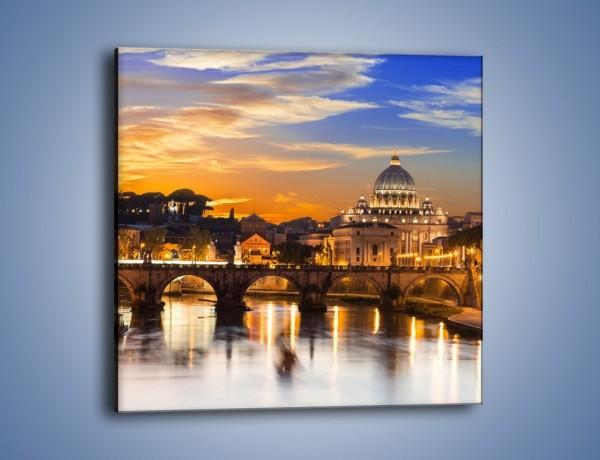 Obraz na płótnie – Zachód słońca nad Bazyliką św. Piotra – jednoczęściowy kwadratowy AM748