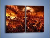 Obraz na płótnie – Bitwa z demonami – dwuczęściowy prostokątny pionowy GR137