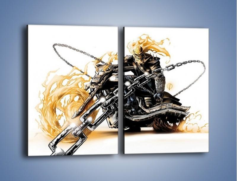 Obraz na płótnie – Mroczna postać na motorze – dwuczęściowy prostokątny pionowy GR167