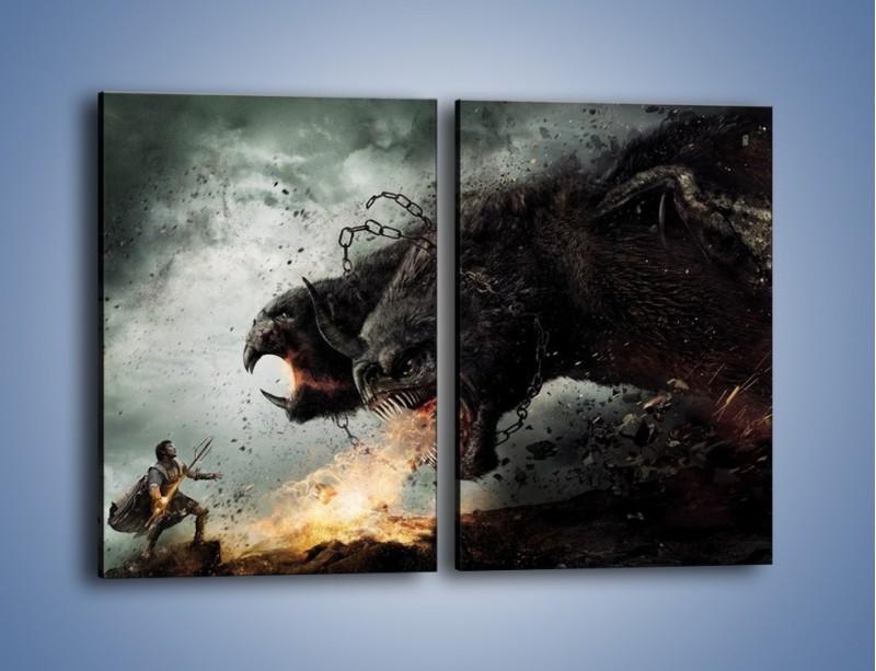 Obraz na płótnie – Groźny podmuch potworów – dwuczęściowy prostokątny pionowy GR174