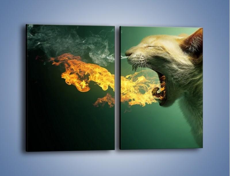 Obraz na płótnie – Kot z gorącym oddechem – dwuczęściowy prostokątny pionowy GR180