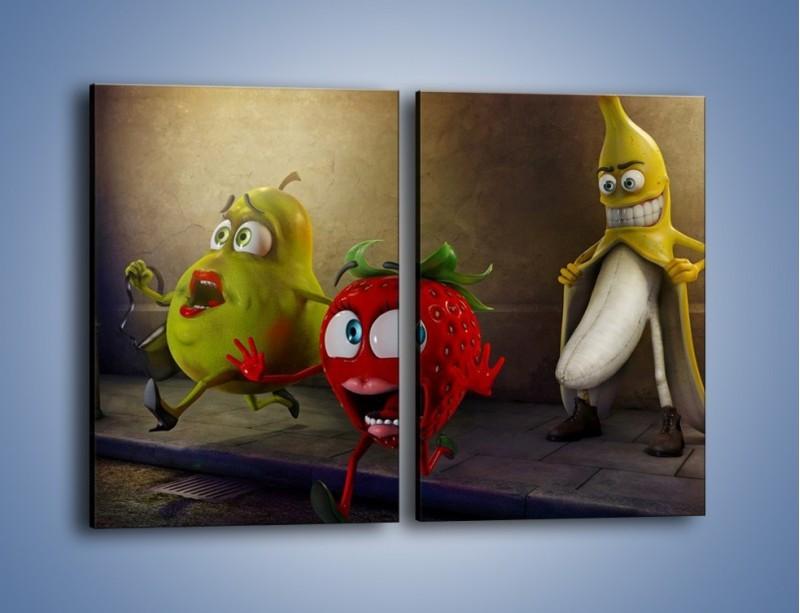 Obraz na płótnie – Strach w owocowych oczach – dwuczęściowy prostokątny pionowy GR253