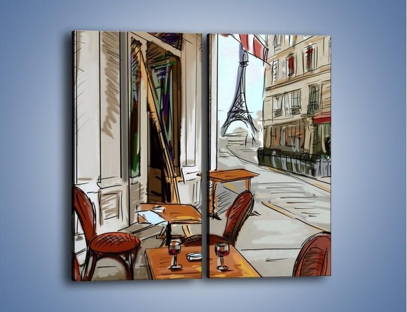 Obraz na płótnie – Lampka wina w paryżu – dwuczęściowy prostokątny pionowy GR260