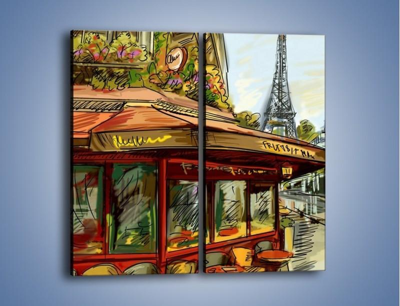 Obraz na płótnie – Paryskie kawiarenki pod daszkiem – dwuczęściowy prostokątny pionowy GR261