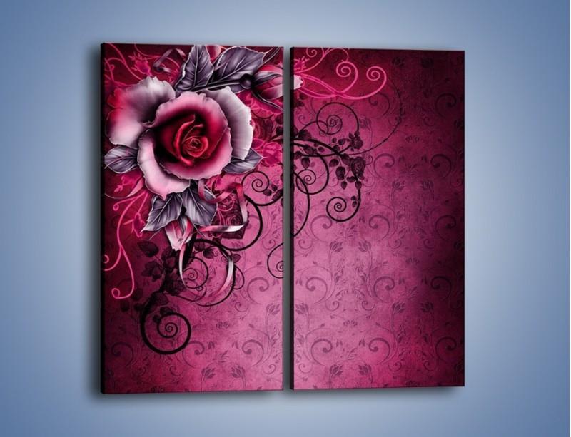 Obraz na płótnie – Róża i purpur – dwuczęściowy prostokątny pionowy GR272