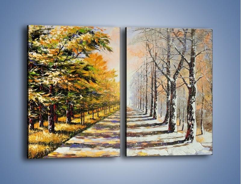 Obraz na płótnie – Trochę jesieni trochę zimy – dwuczęściowy prostokątny pionowy GR292