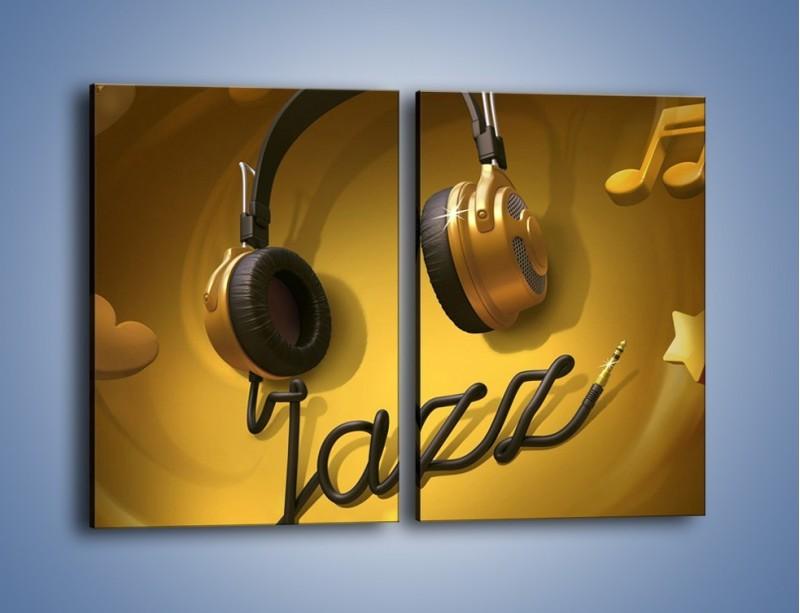 Obraz na płótnie – Złote nuty jazzu – dwuczęściowy prostokątny pionowy GR305