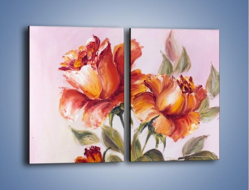 Obraz na płótnie – Kwiaty na płótnie malowane – dwuczęściowy prostokątny pionowy GR322