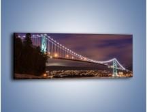 Obraz na płótnie – Most Lions Gate w Vancouver nocą – jednoczęściowy panoramiczny AM472