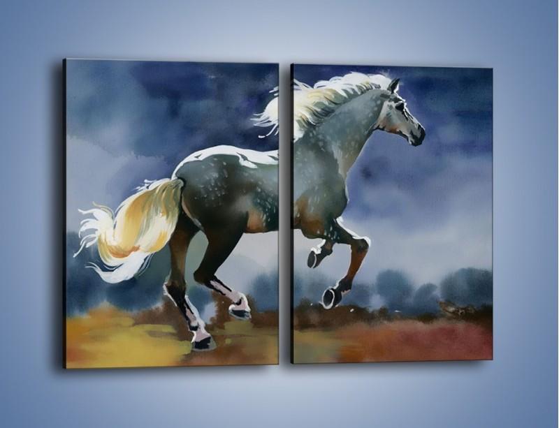 Obraz na płótnie – Bieg z koniem przez noc – dwuczęściowy prostokątny pionowy GR339