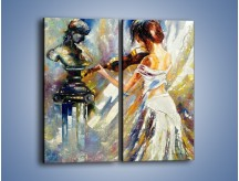 Obraz na płótnie – Biała dama i skrzypce – dwuczęściowy prostokątny pionowy GR368