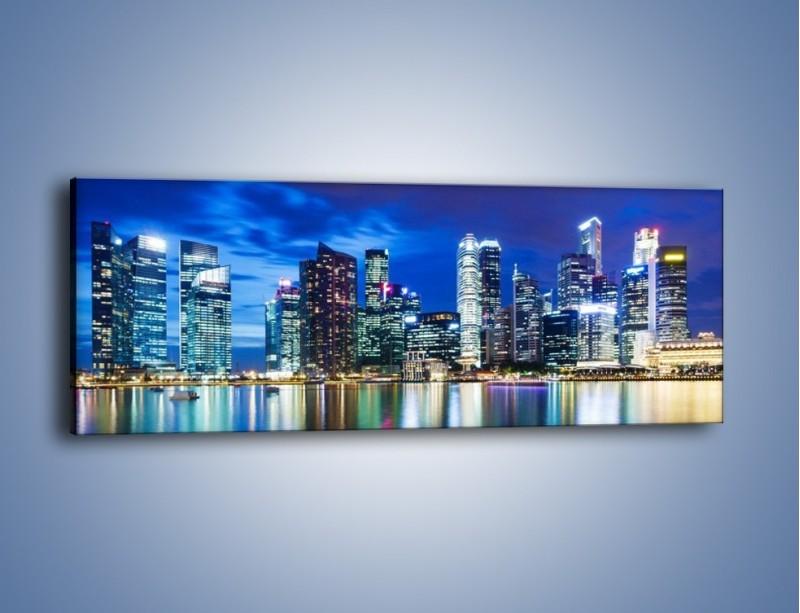 Obraz na płótnie – Drapacze chmur w Singapurze – jednoczęściowy panoramiczny AM474