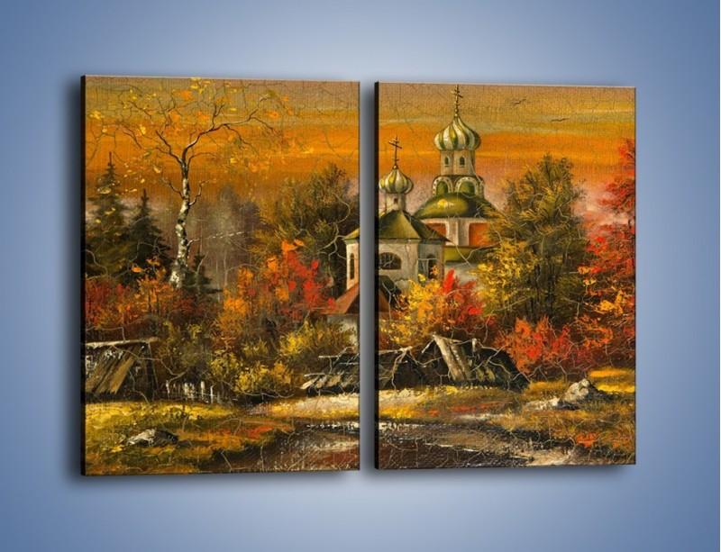 Obraz na płótnie – Kaplica późną jesienią – dwuczęściowy prostokątny pionowy GR369