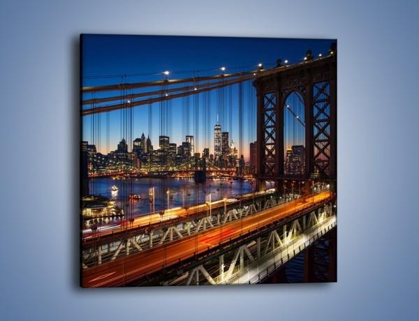Obraz na płótnie – Nowojorskie mosty na tle Manhattanu – jednoczęściowy kwadratowy AM751